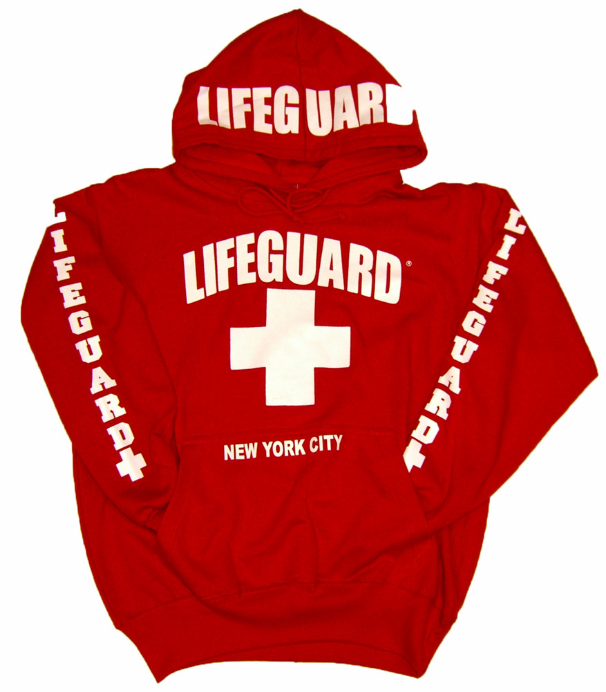 RED USA STYLE LIFEGUARD HOODIE TOWN CITY