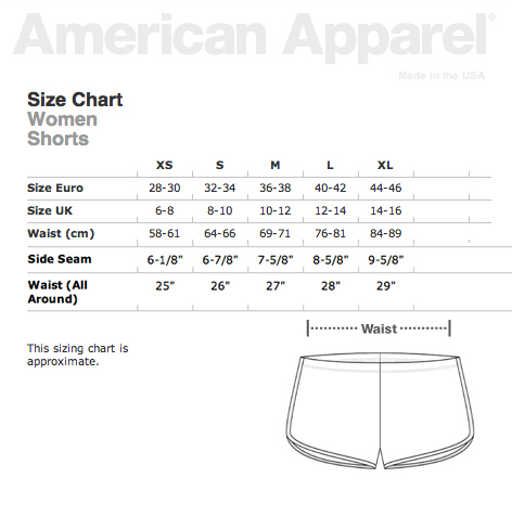 American Apparel Shorts Size Chart Uk 17